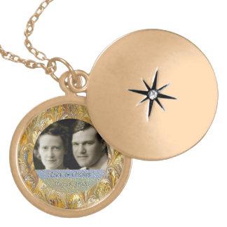 50.o Recuerdo de oro del marco de la foto del aniv Medallones