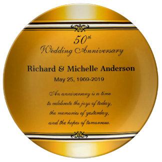 50.o recuerdo de oro personalizado del aniversario plato de cerámica