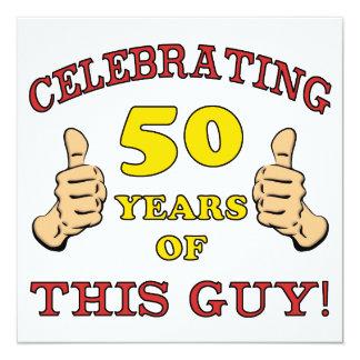 """50.o Regalo de cumpleaños para él Invitación 5.25"""" X 5.25"""""""