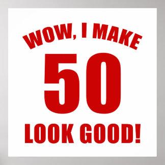 50.o Regalo de la mordaza del cumpleaños (r) Póster