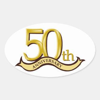 50 o regalo personalizado del aniversario calcomanías de ovales personalizadas