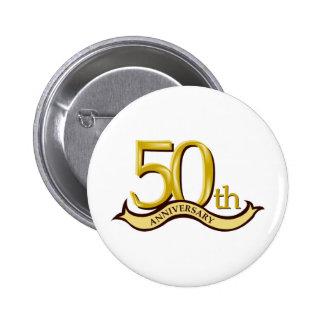50.o regalo personalizado del aniversario pin redondo de 2 pulgadas