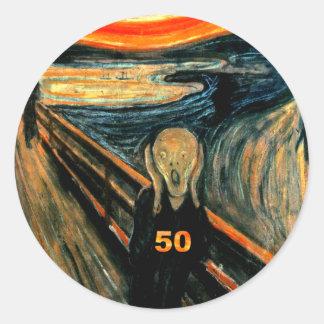 50.o ¡Regalos de cumpleaños, el grito 50! Pegatinas Redondas
