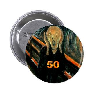 50.o ¡Regalos de cumpleaños, el grito 50! Pin Redondo De 2 Pulgadas