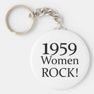 50.o ¡Regalos de cumpleaños, roca de 1959 mujeres! Llavero Redondo Tipo Pin