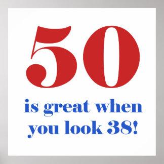 50.o Regalos del humor del cumpleaños Póster