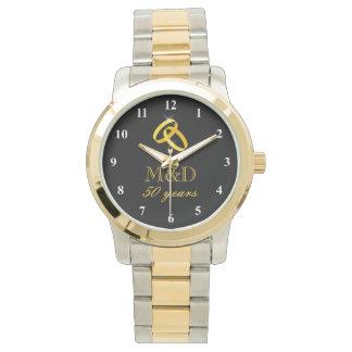 50.o Reloj del aniversario de boda del oro para el