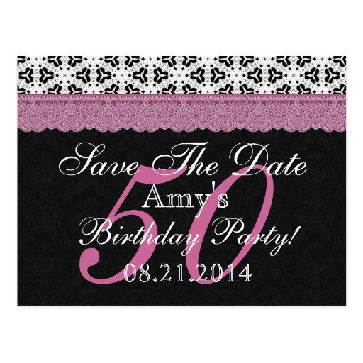 50.o Reserva del cumpleaños el rosa blanco del neg Postales