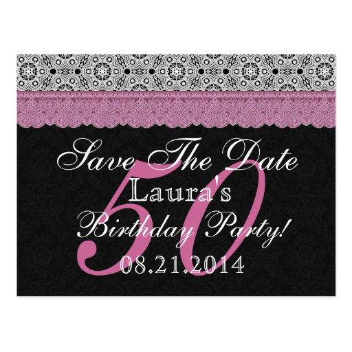 50.o Reserva del cumpleaños el rosa blanco del Tarjetas Postales