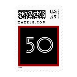 50.o Rojo blanco negro intrépido grande de la Timbre Postal