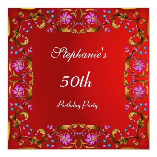 """50.o rojo de la flor de la fiesta de cumpleaños invitación 5.25"""" x 5.25"""""""
