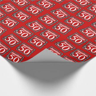 50.o Rojo del cumpleaños con las estrellas Papel De Regalo
