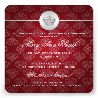 50 o rojo real elegante de la corona de la fiesta comunicado personal