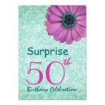 50.o Rosa de la fiesta de cumpleaños de la Invitación 12,7 X 17,8 Cm