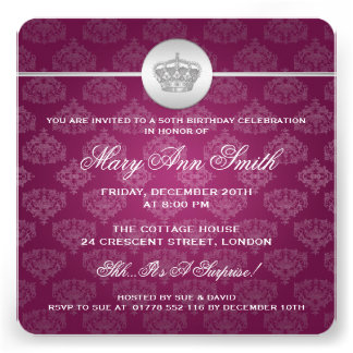 50 o rosa real elegante de la corona de la fiesta invitaciones personales