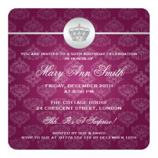 50.o rosa real elegante de la corona de la fiesta invitación 13,3 cm x 13,3cm