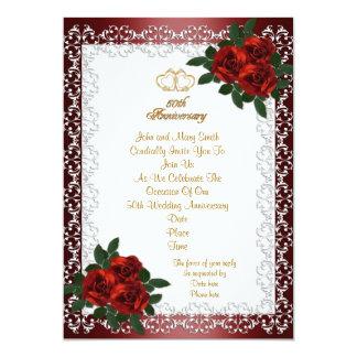 50.o Rosas rojos de la invitación del aniversario