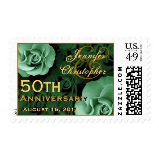 50.o Rosas VERDES del sello de encargo del anivers