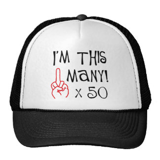 50 o saludo del dedo medio del cumpleaños gorros