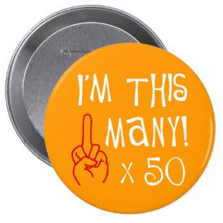 50.o saludo del dedo medio del cumpleaños pins