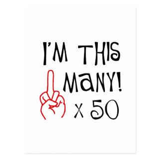 50 o saludo del dedo medio del cumpleaños tarjeta postal