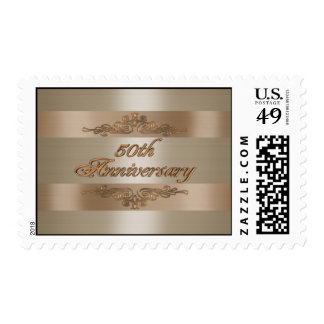 50.o sello del satén del oro del aniversario