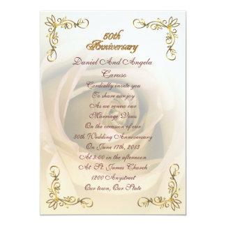 """50.o Sepia del aniversario subió Invitación 5"""" X 7"""""""