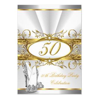 """50.o Talones de la plata del oro blanco de la Invitación 5"""" X 7"""""""
