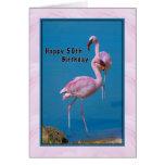 50.o Tarjeta de cumpleaños con el flamenco rosado