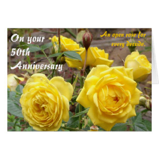 50.o Tarjeta de felicitaciones de oro de los rosas