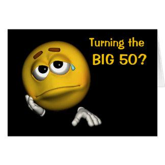 50.o Tarjeta divertida de la cara sonriente triste