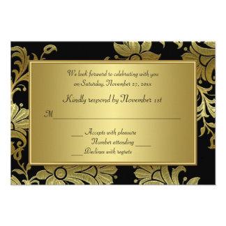 50 o Tarjeta floral de RSVP del negro y del oro de Comunicado Personalizado