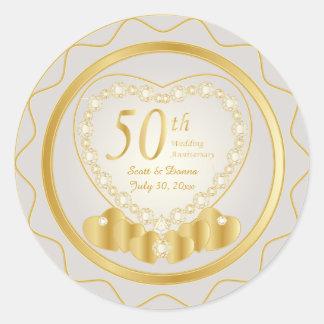 50.o Texto del aniversario de boda de oro el | DIY Pegatina Redonda