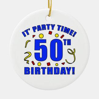 50.o Tiempo de la fiesta de cumpleaños Ornamento De Navidad