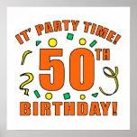 50.o Tiempo de la fiesta de cumpleaños Posters
