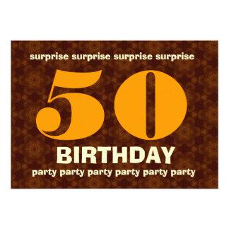 50 o Tonalidades calientes del cumpleaños de la so Invitacion Personalizada