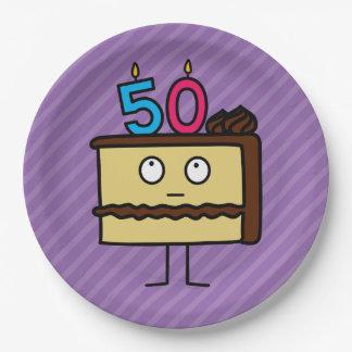 50.o Torta de cumpleaños con las velas Platos De Papel
