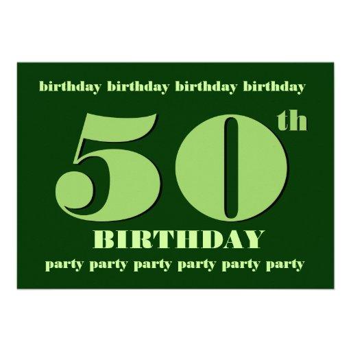 50.o Verde de la plantilla de la invitación de la