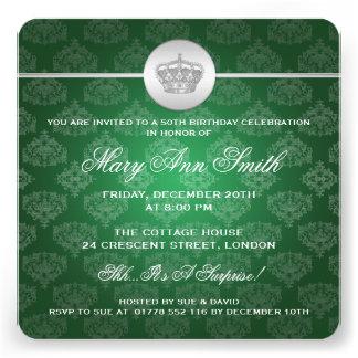 50 o verde real elegante de la corona de la fiesta anuncios