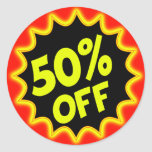 50% OFF ROUND STICKER