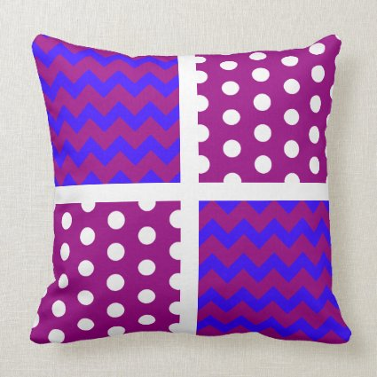 50% Opacity Red/Any Color Chevron/Polka Dot Pillow