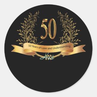 50.os carros felices del saludo del aniversario de pegatina redonda