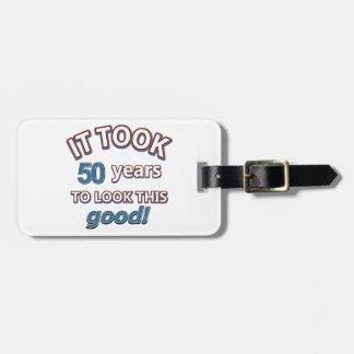 50.os diseños del cumpleaños del año etiquetas para maletas