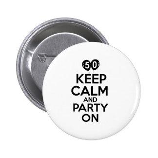 50.os diseños del cumpleaños del año pin redondo de 2 pulgadas