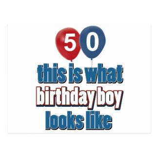 50.os diseños del cumpleaños del año postales