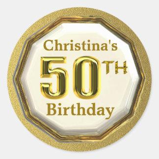 50.os pegatinas del cumpleaños del oro de encargo etiquetas redondas