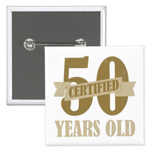50.os regalos certificados de la mordaza del cumpl pin cuadrada 5 cm