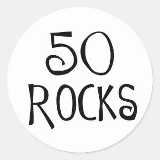 50.os regalos de cumpleaños, 50 ROCAS Pegatinas Redondas
