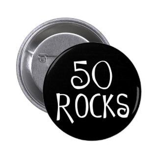 50.os regalos de cumpleaños, 50 ROCAS Pin Redondo De 2 Pulgadas