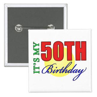 50.os regalos de la fiesta de cumpleaños de la div pin cuadrada 5 cm